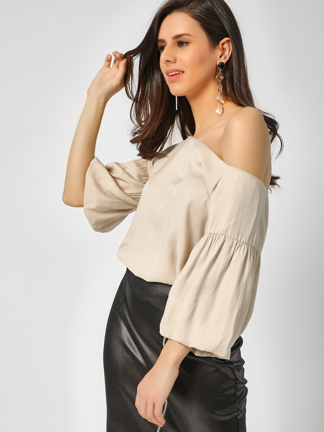 Cover Story Beige Bell Sleeves Off Shoulder Top 1