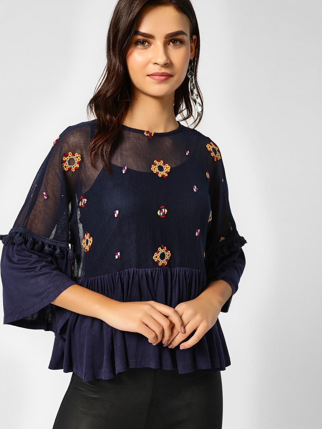 Cover Story Navy Floral Print One Shoulder Blouse 1
