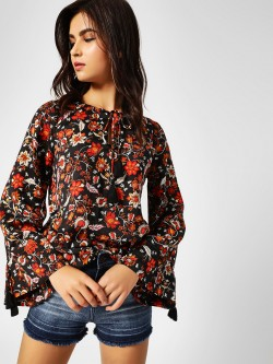Cover Story Floral Print Front Tie Up Top