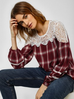 Cover Story Check Top With Lace Detail