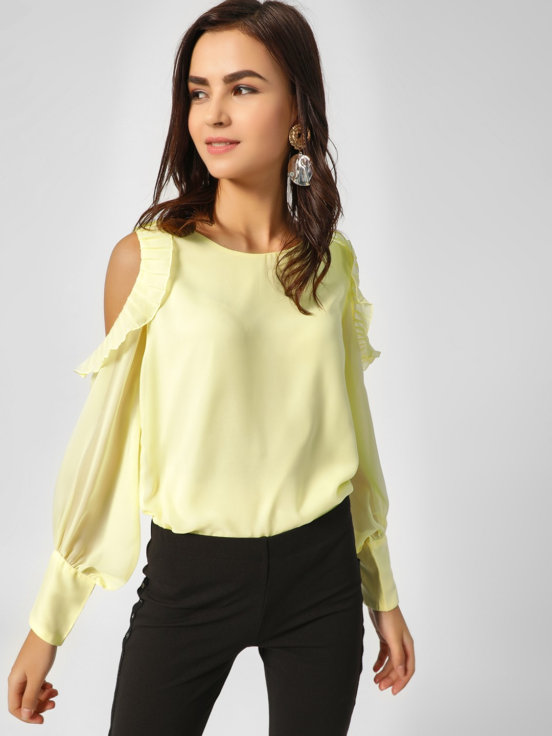 Cover Story Yellow Cold Shoulder Top 1