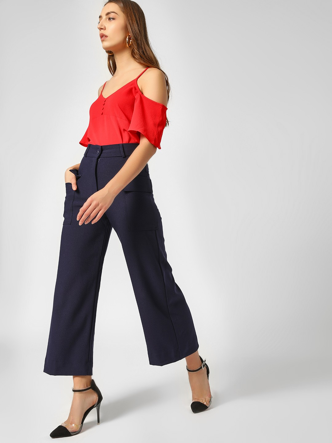 Cover Story Navy Button Detail Flared Culottes 1