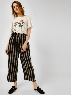 Cover Story Paperbag Striped Wide Leg Trousers