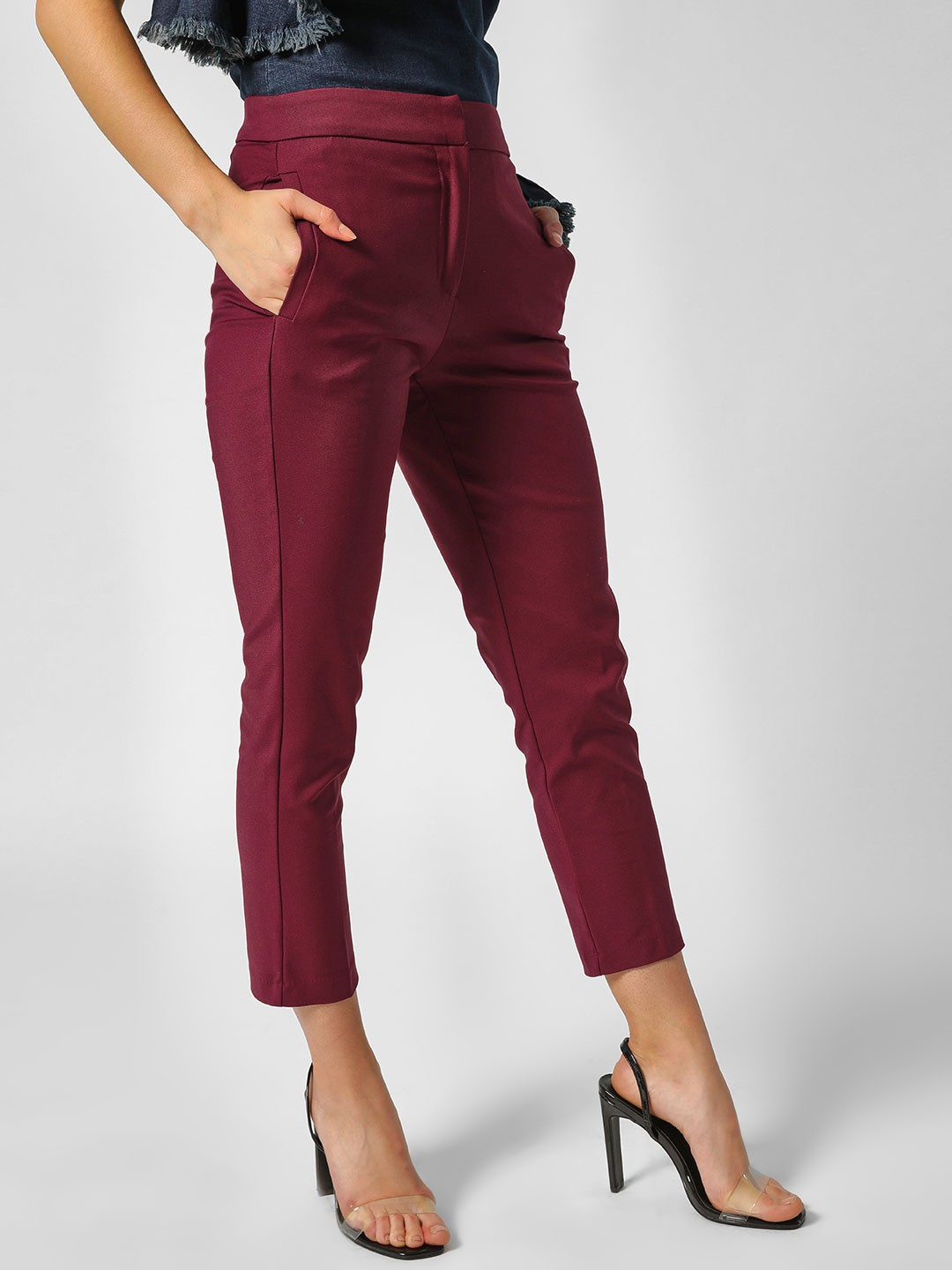 Cover Story Wine Extended High Waist Slim Fit Trousers 1