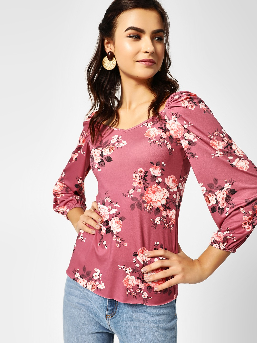 Cover Story Mauve Floral Print Sweetheart Neck Top 1