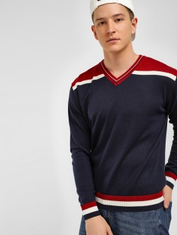 Akiva Colour Block Panel Varsity Pullover