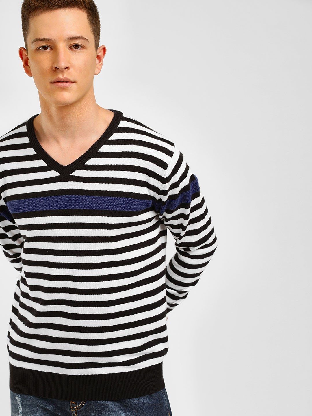 Akiva Multi Horizontal Stripe V-Neck Pullover 1