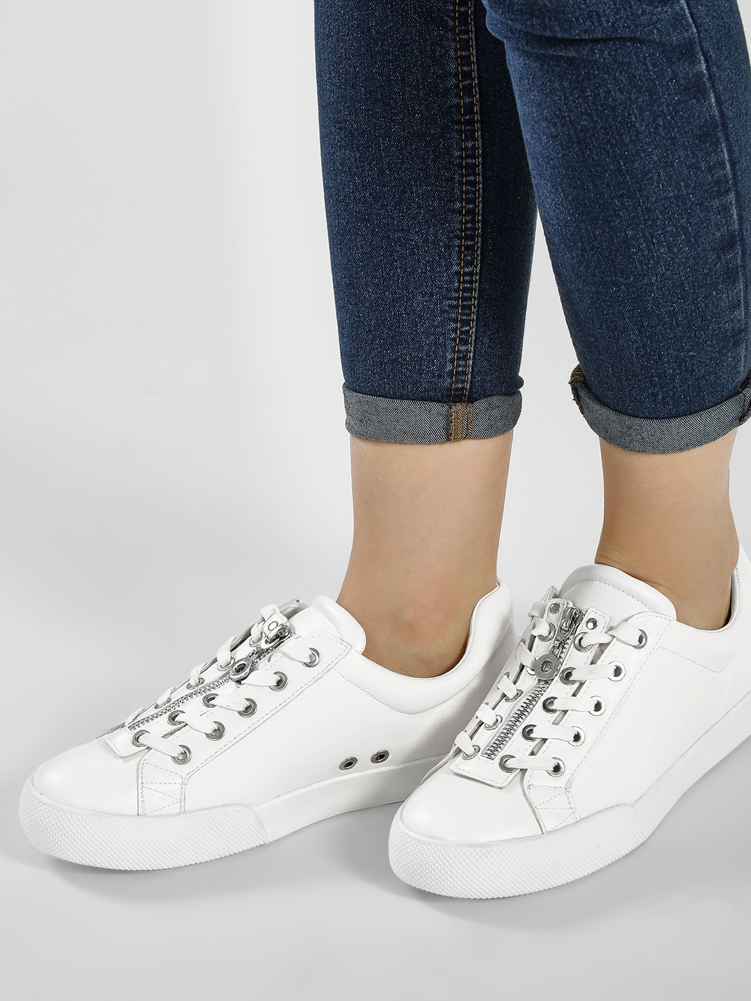 My Foot Couture White Two Way Lace Up Trainers 1
