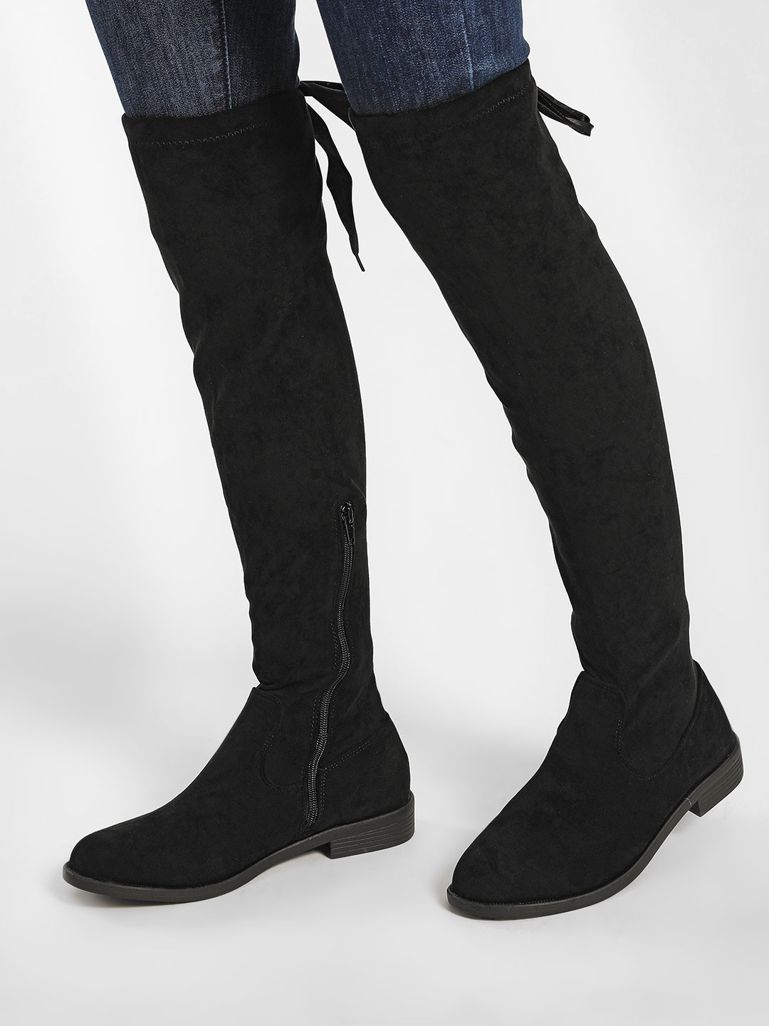 My Foot Couture Black Suede Finish Knee High Boots 1