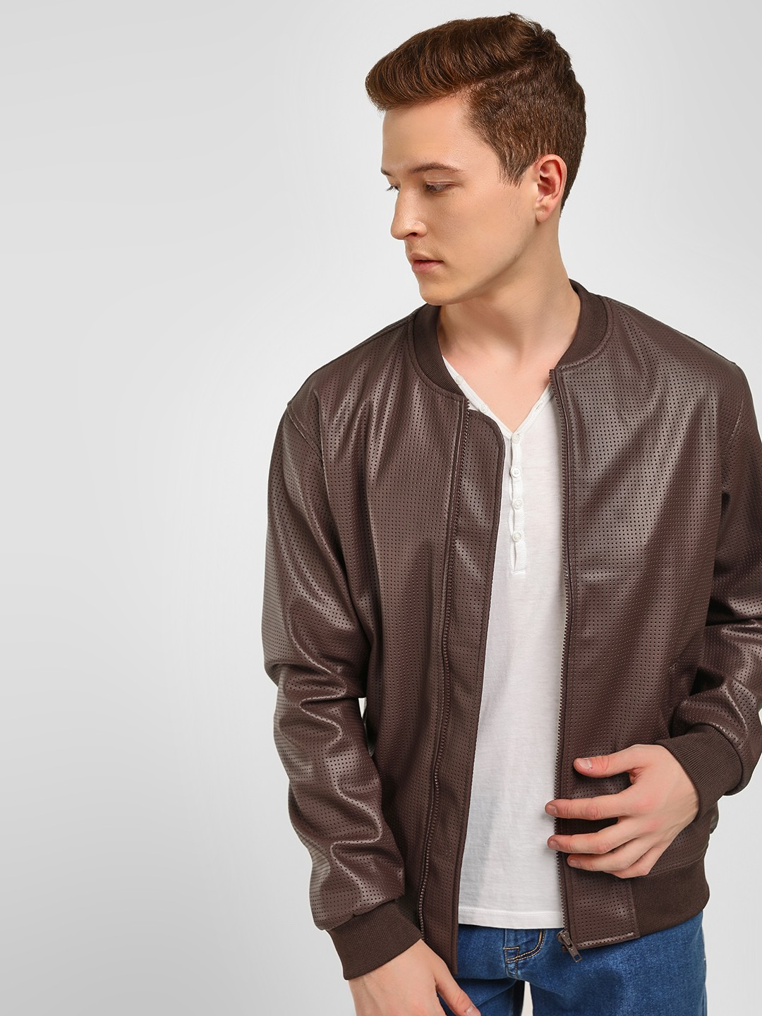 KOOVS Brown Baseball Collar Perforated Jacket 1