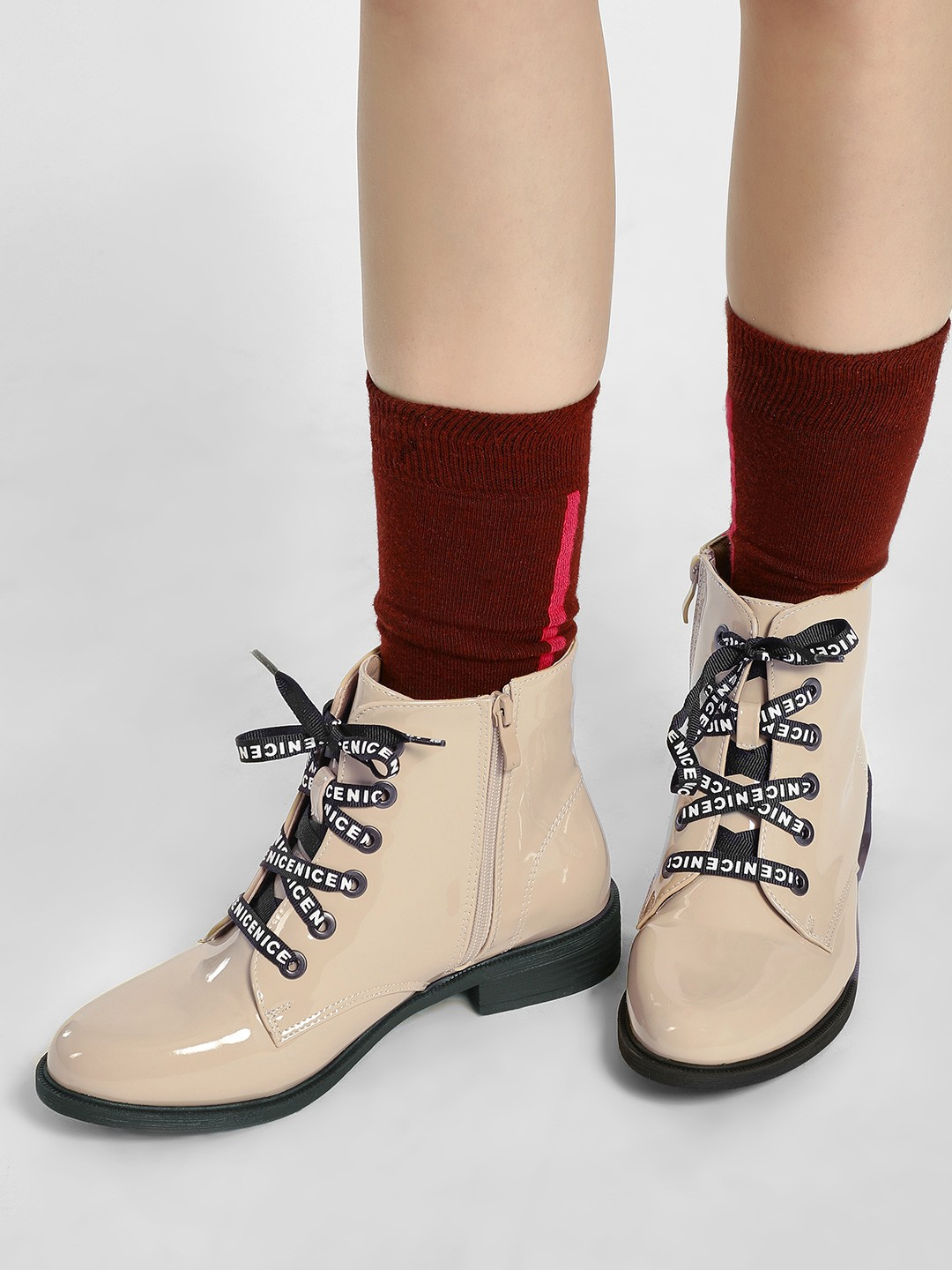 Sole Story Beige Slogan Lace-Up Patent Boots 1