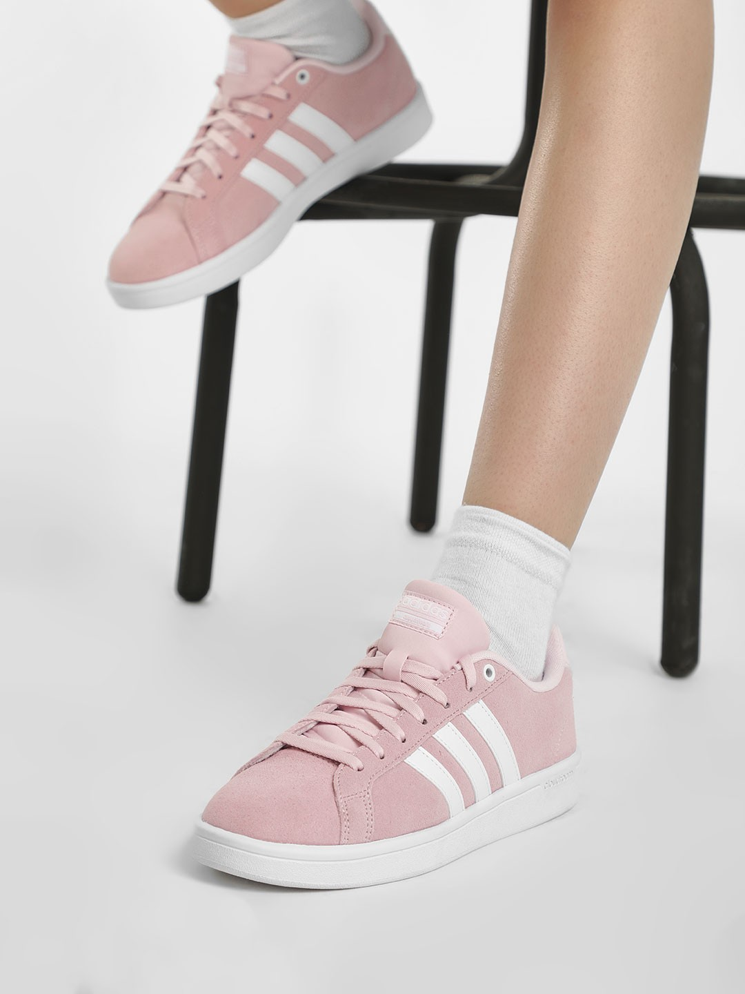 Adidas Pink Cloudfoam Advantage Shoes 1
