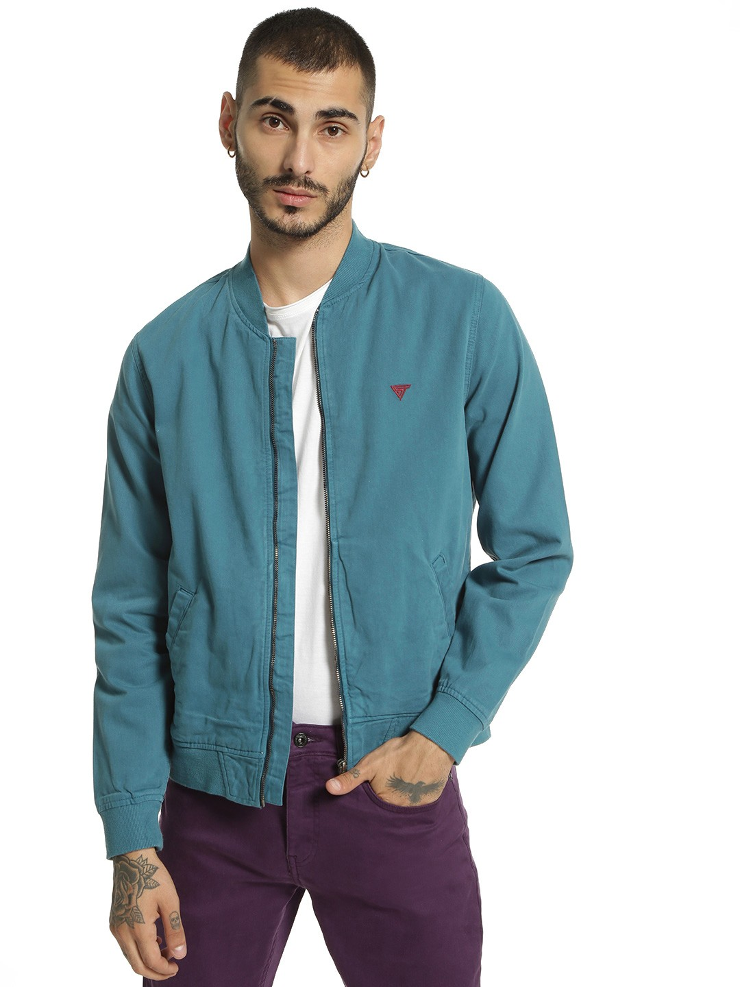 Blue Saint Blue Overdyed Long Sleeve Bomber Jacket 1
