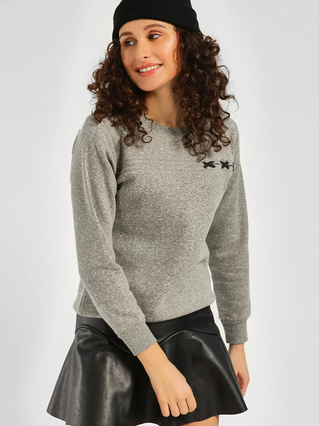 KOOVS Grey Interlaced Crew Neck Sweatshirt 1