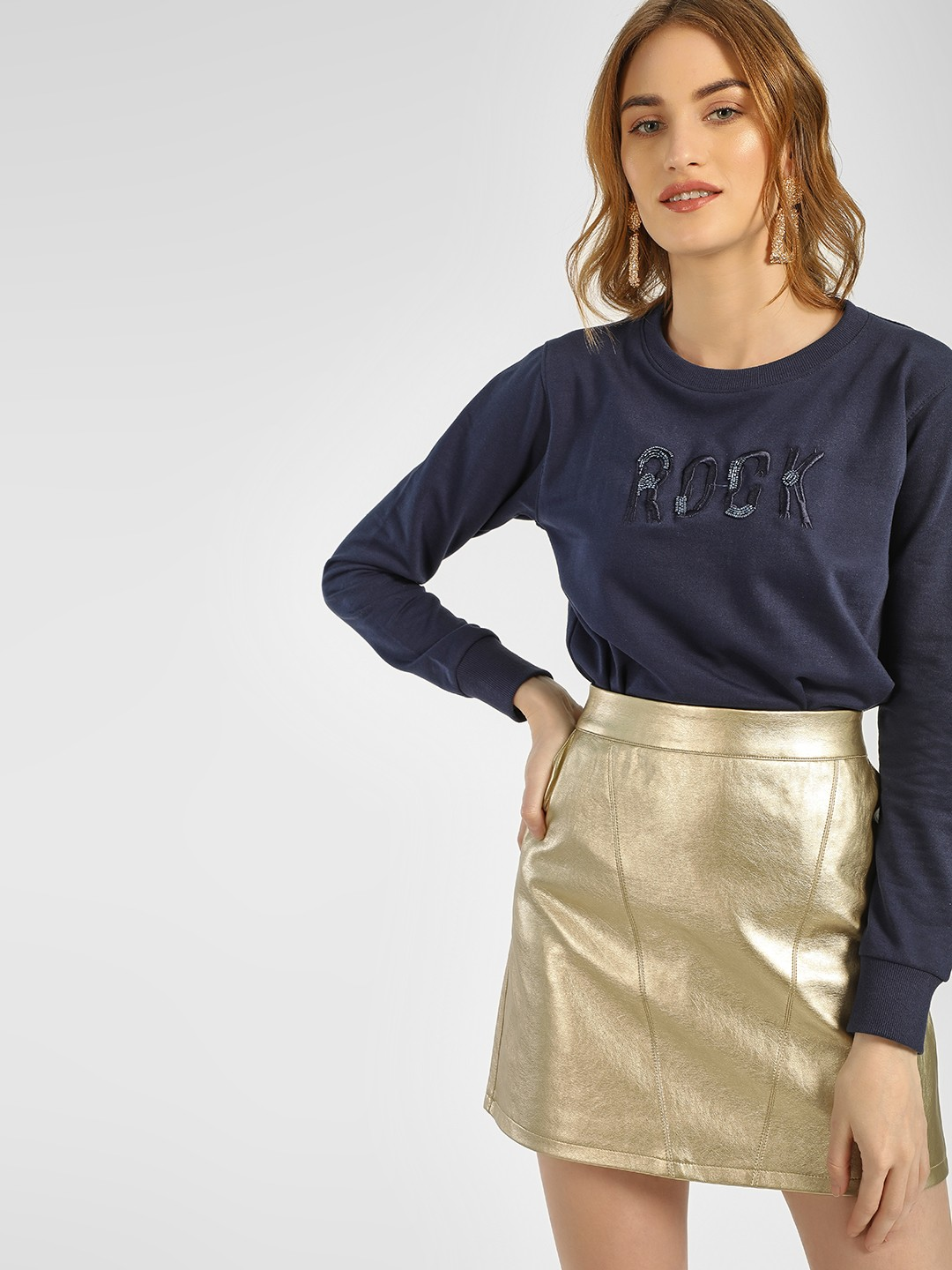 KOOVS Blue Slogan Embellished Embroidered Sweatshirt 1