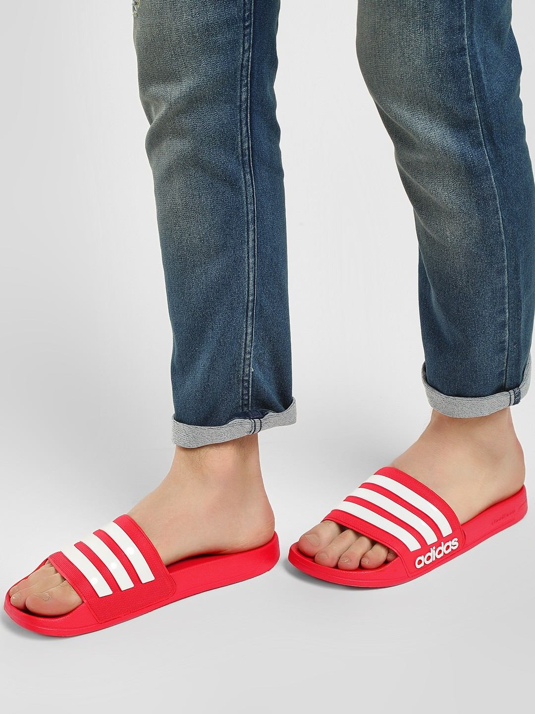 Adidas Red Adilette Shower Slides 1