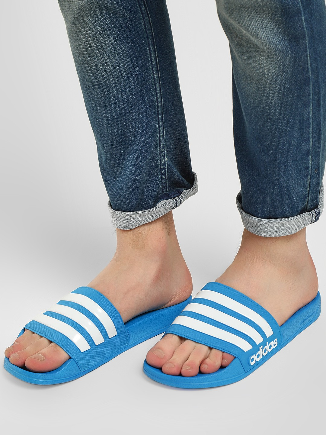 Adidas Blue Adilette Shower Slides 1