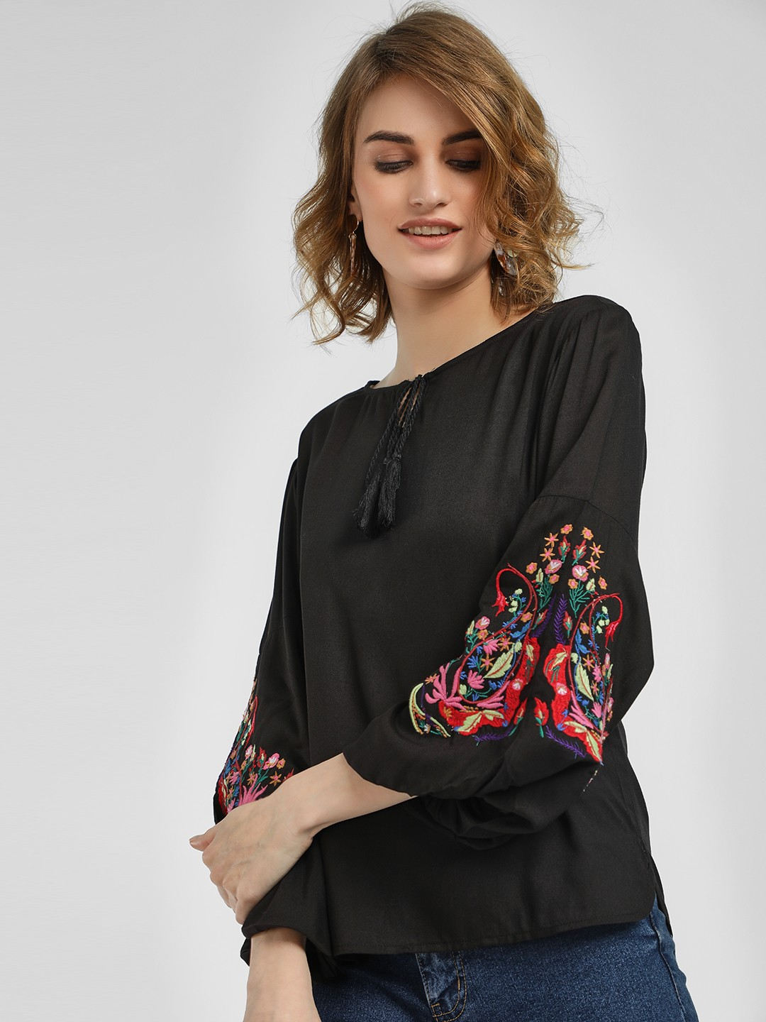 Kisscoast Black Embroidered Bell Sleeve Blouse 1