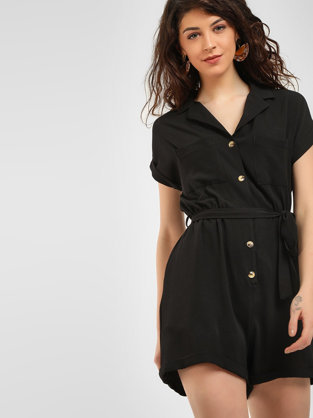 fashionable style official photos highly praised Buy New Look Black Basic Revere Collared Playsuit for Girls ...