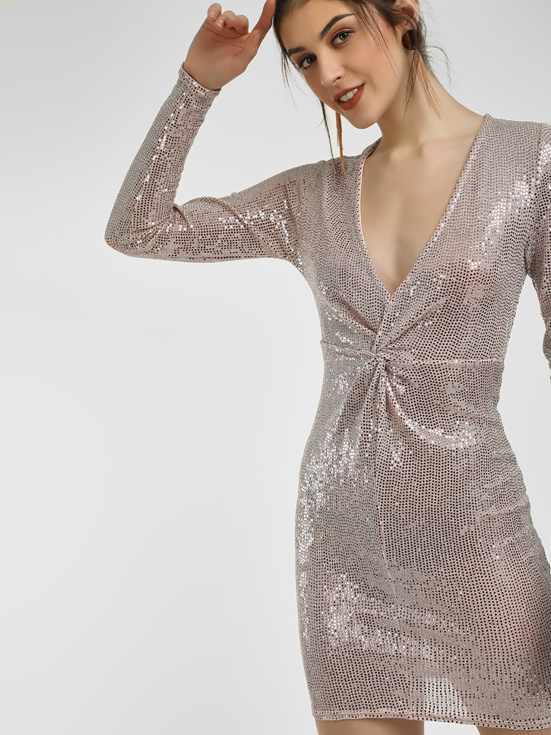 New Look Nude Sequined Plunge Neck Bodycon Dress 1