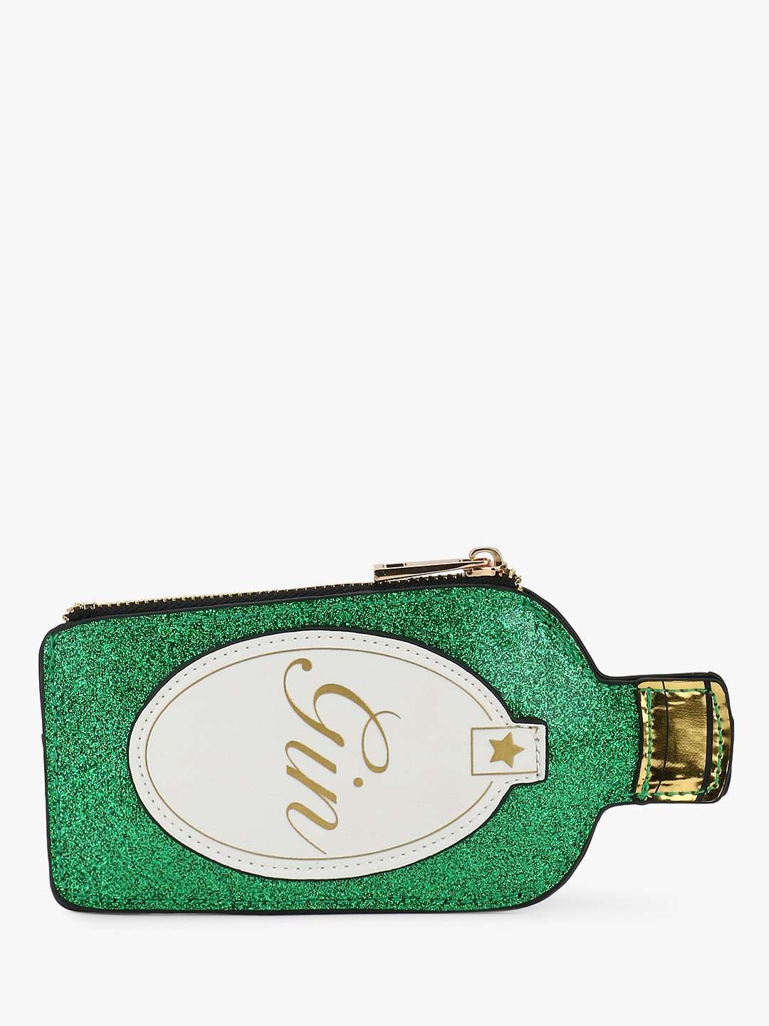 New Look Green Text Print 3D Glitter Pouch 1