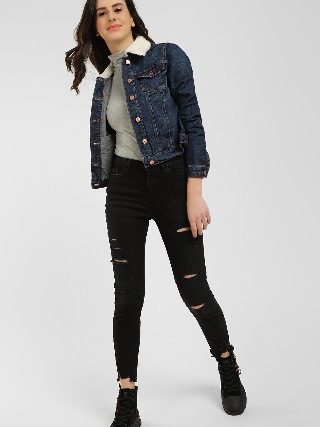 New Look Black Ripped Raw Hem Skinny Jeans 1