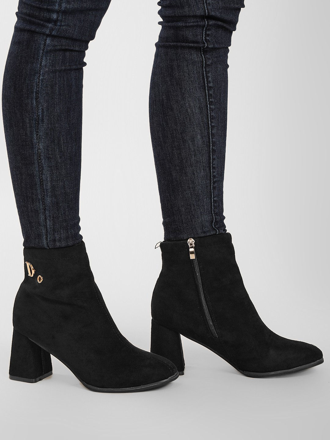 Sole Story Black Flared Block Heel Ankle Boots 1
