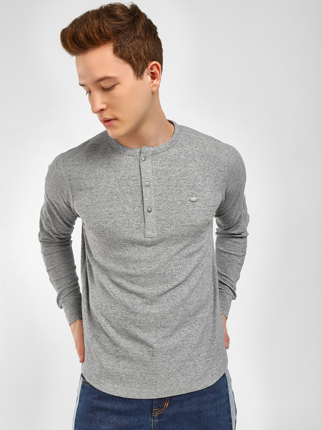 Buffalo Grey Henley Neck Sweatshirt 1