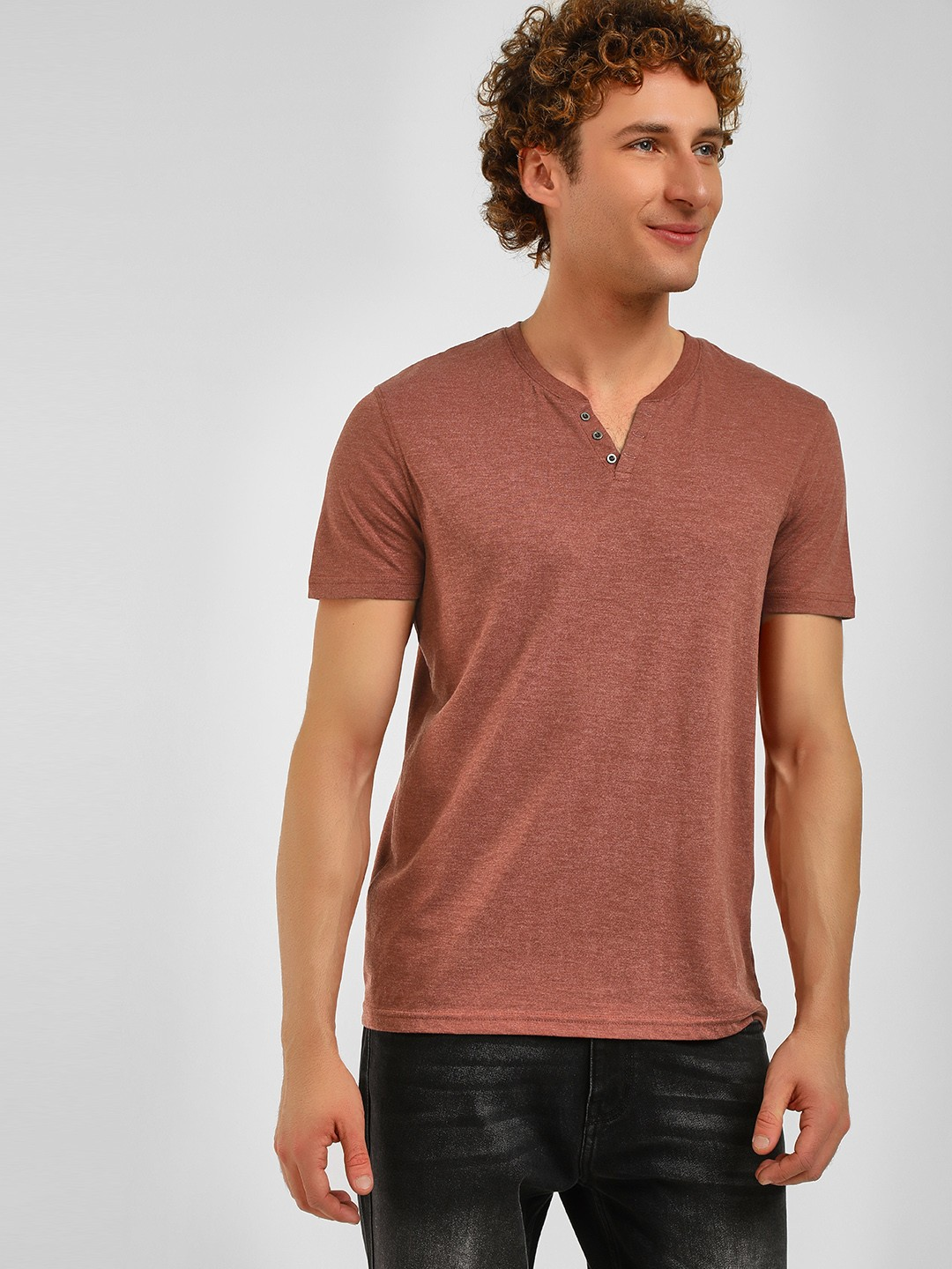 Celio Maroon Henley Neck Short Sleeve T-Shirt 1