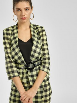 Closet Drama Front Open Checkered Jacket