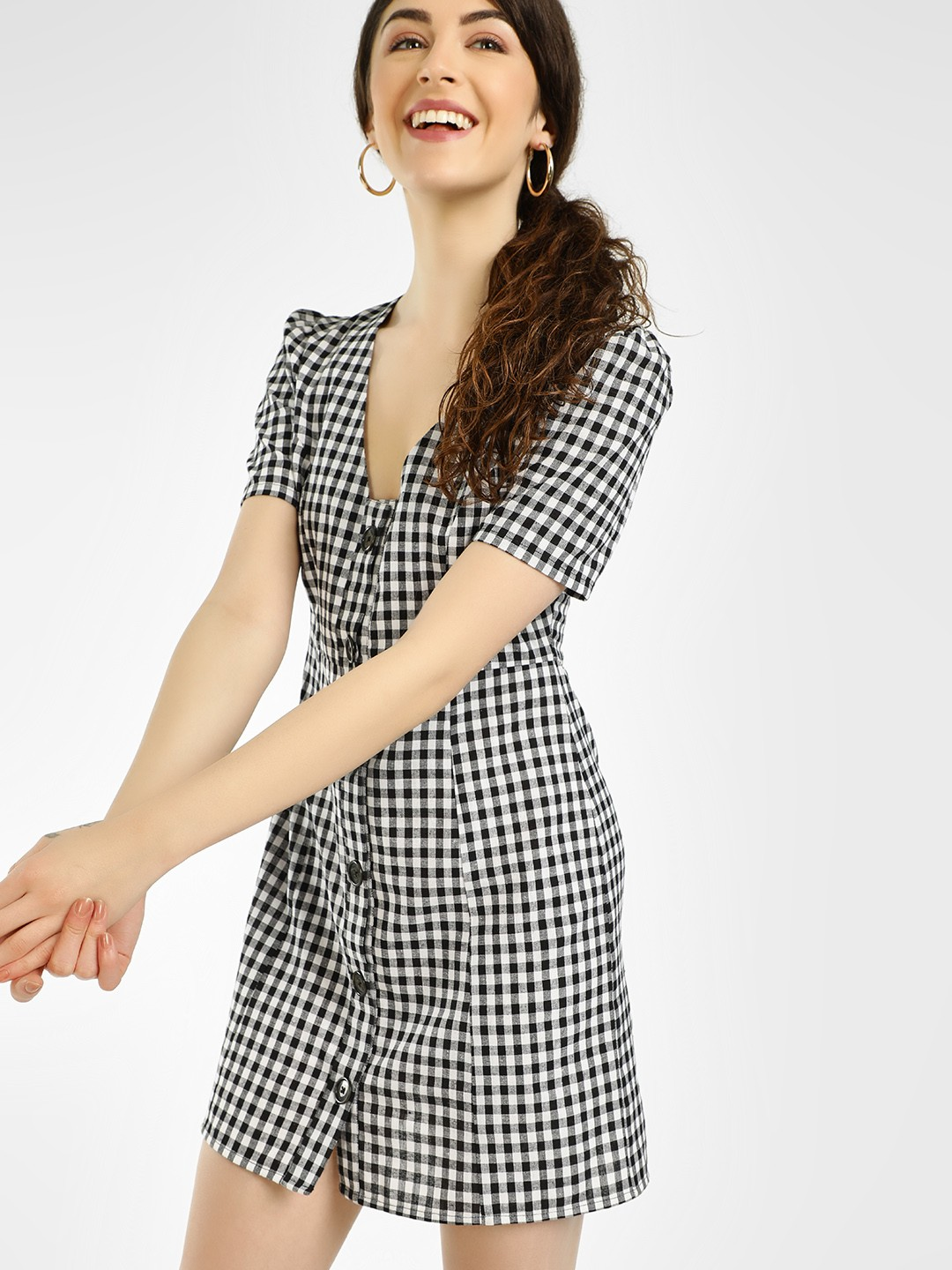 KOOVS Multi Gingham Check Buttoned Shift Dress 1