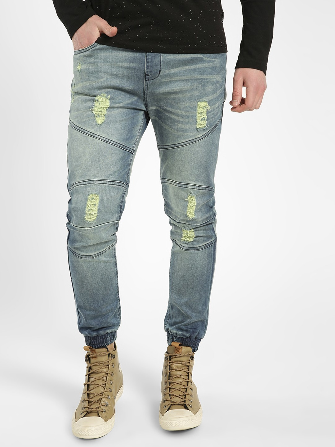 K Denim Blue KOOVS Distressed Wash Panelled Slim Joggers 1