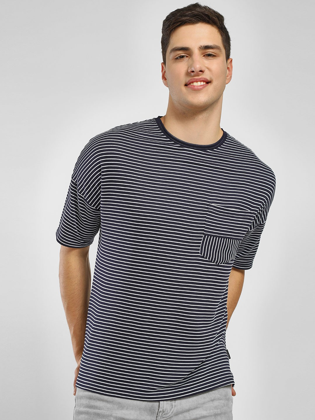 KOOVS Blue Chord Stripe T-Shirt 1
