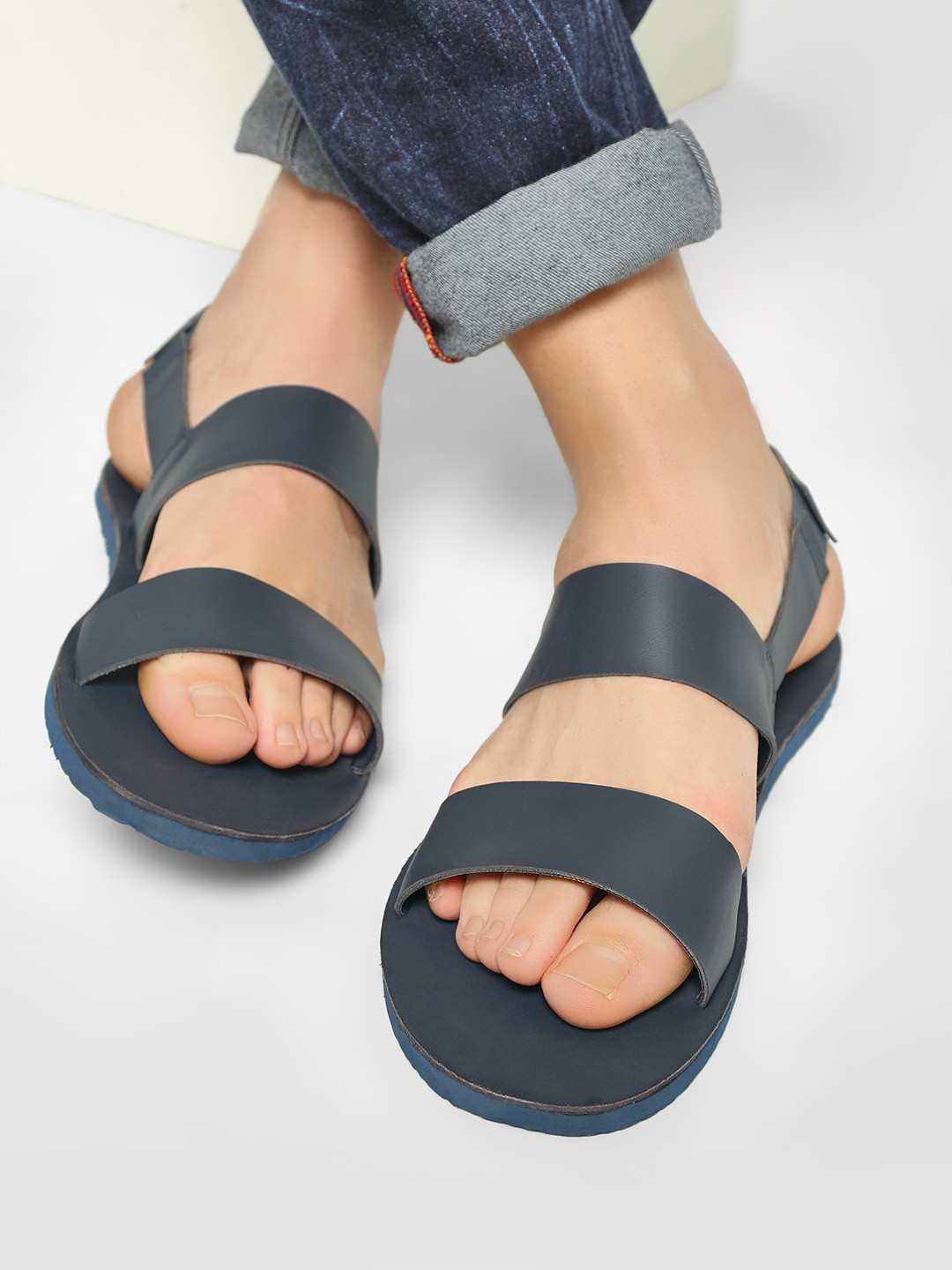 KOOVS Navy Double Strap Slingback Sandals 1