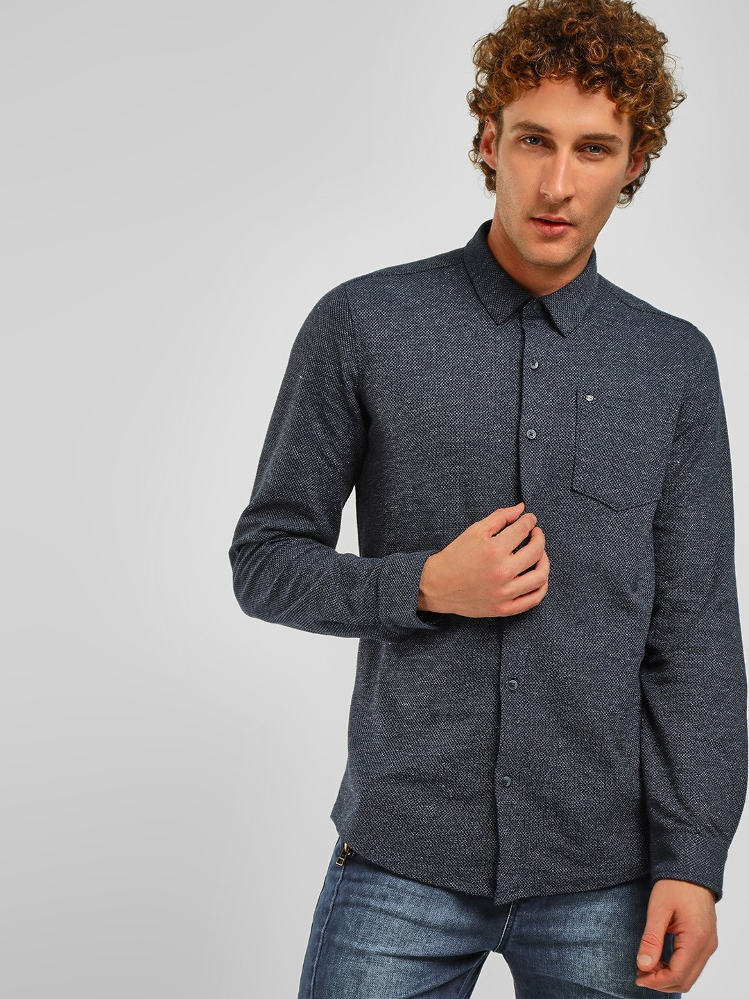 Lee Cooper Navy Casual Washed Denim Shirt 1