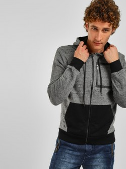 Lee Cooper Colour Block Melange Effect Hoodie