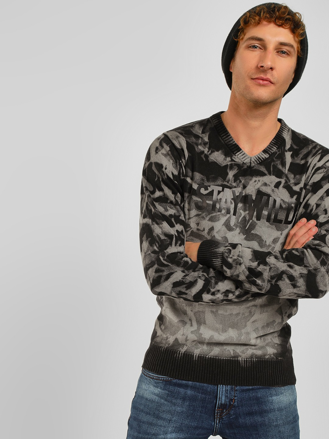 Lee Cooper Black All Over Print Pullover 1