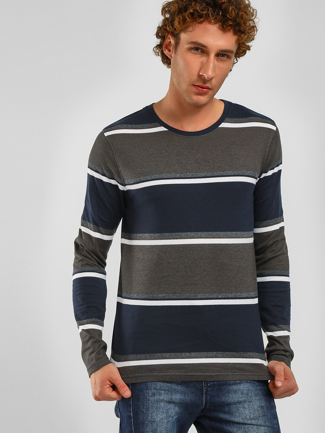 Lee Cooper Navy Striped Long Sleeves T-Shirt 1