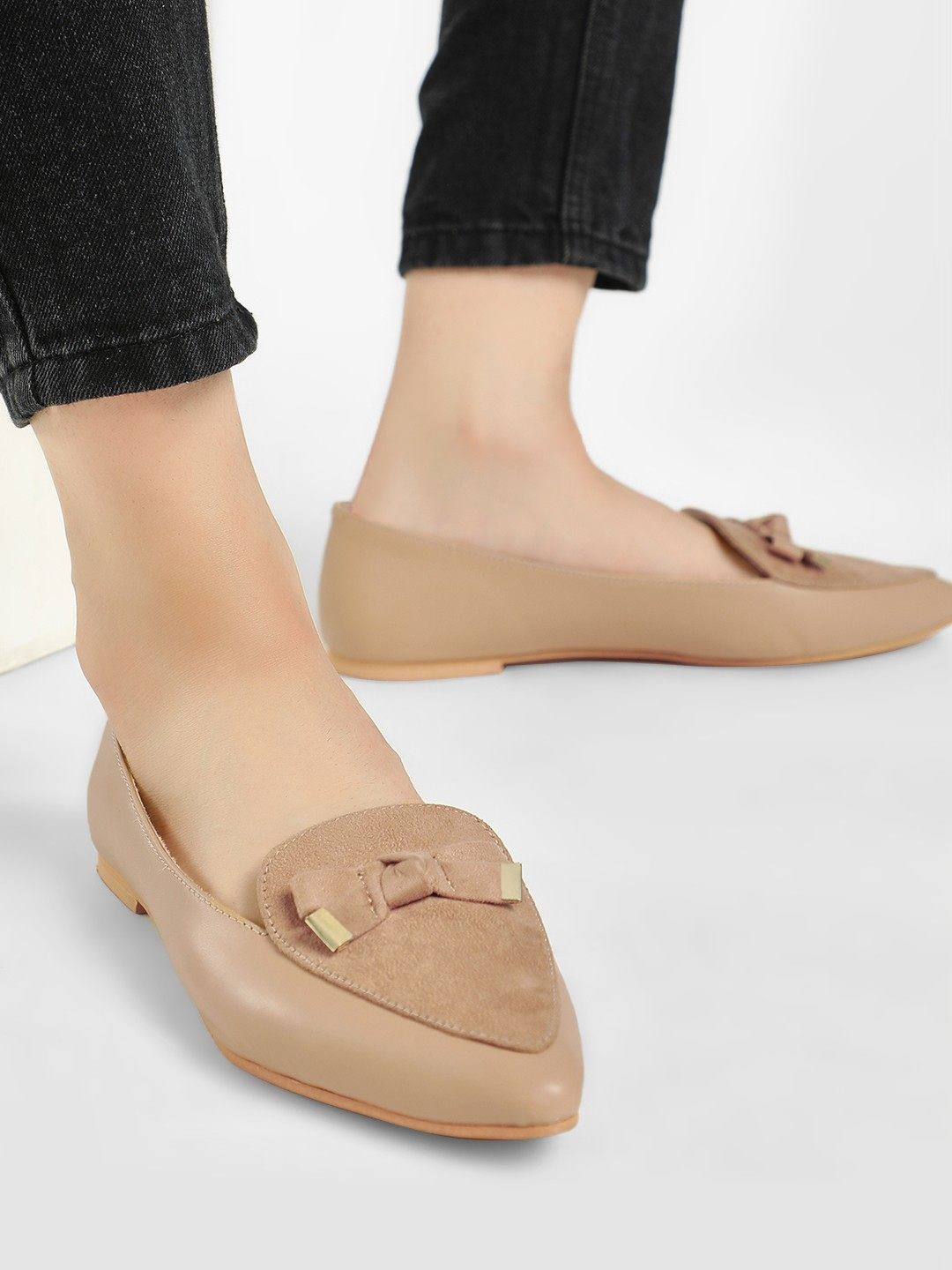 KOOVS Tan Bow Detail Suede Finish Loafers 1