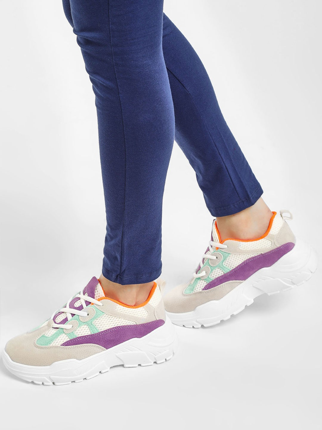 KOOVS White/Purple Mesh Suede Chunky Sole Trainers 1