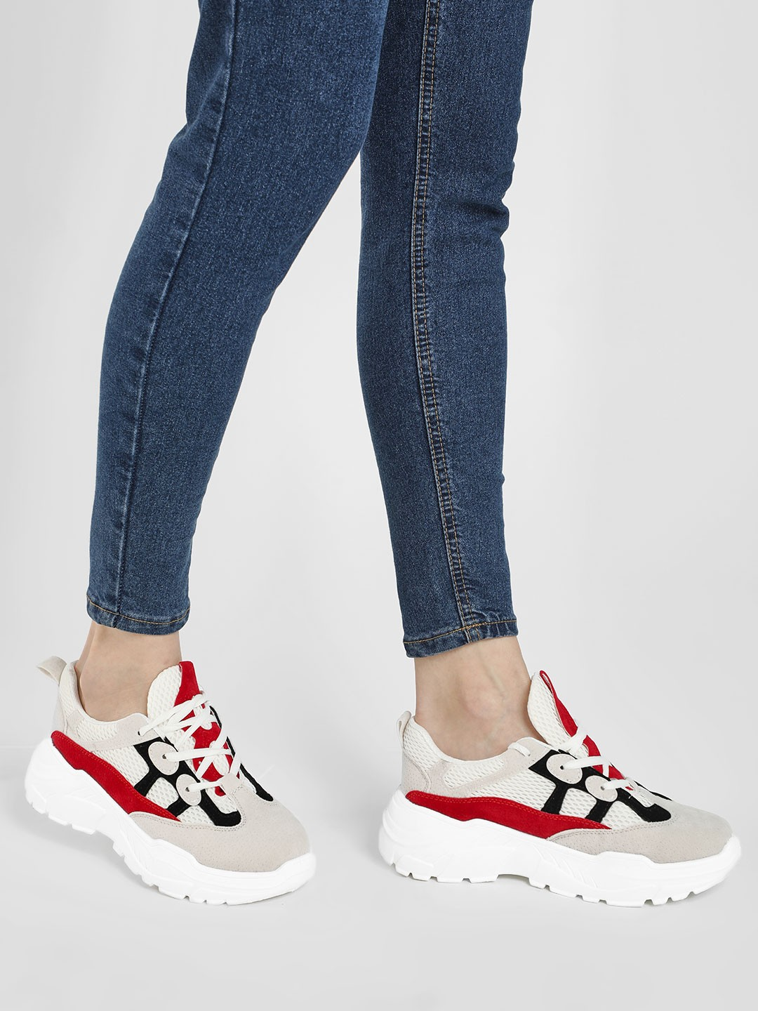 KOOVS White/Red Mesh Suede Chunky Sole Trainers 1
