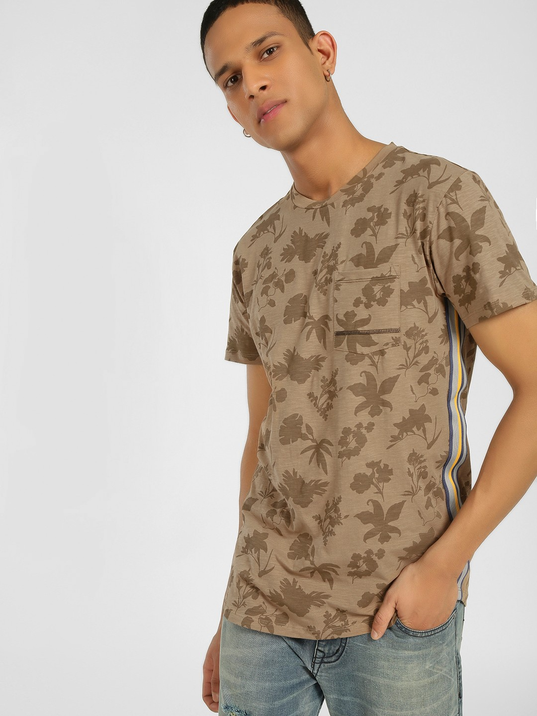 KOOVS Brown Floral Print Side Tape T-Shirt 1