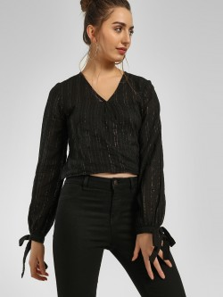 KOOVS Shimmer Wrap Crop Top