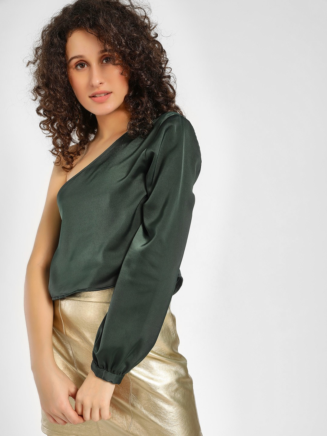 KOOVS Green One Shoulder Satin Blouse 1