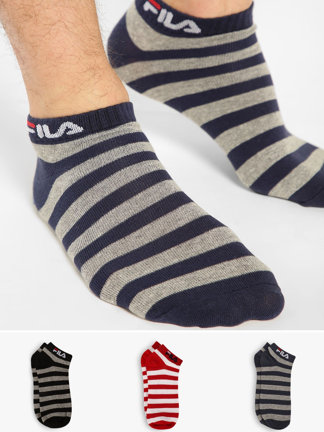 Fila Multi Low Ankle Stripe Socks (Pack Of 3) 1