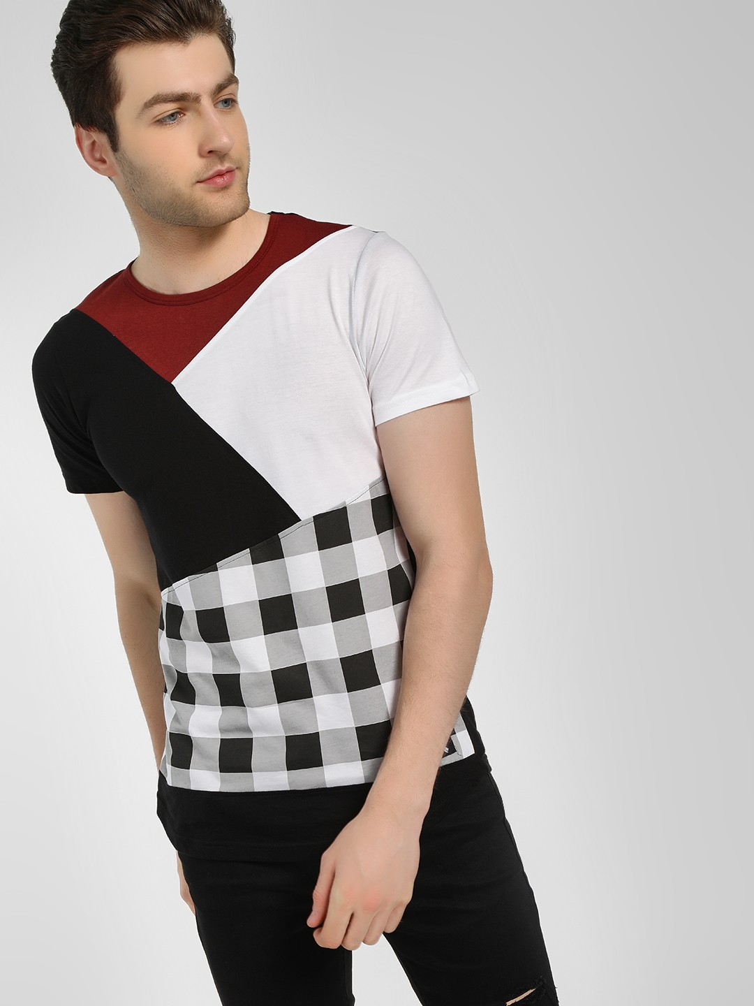 Kultprit Multi Cut & Sew Check T-Shirt 1