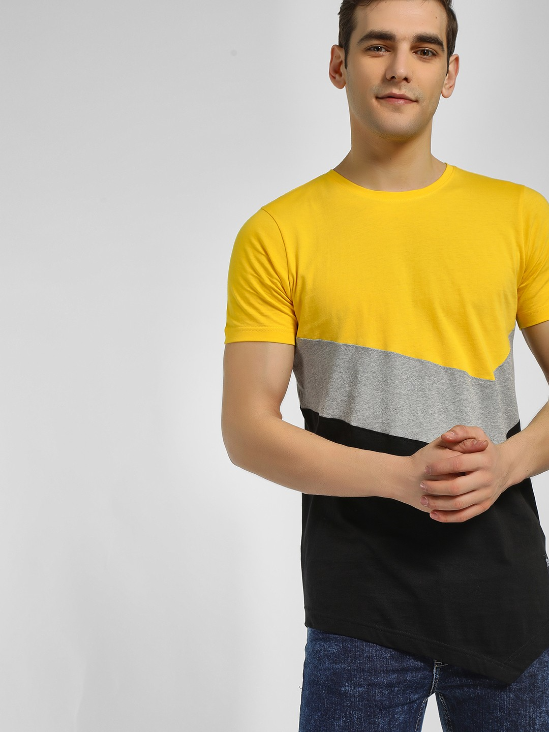 Kultprit Multi Colour Block Asymmetric Hem T-Shirt 1