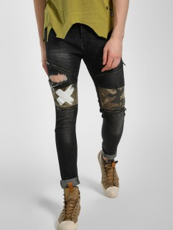 Kultprit Distressed Camo Patchwork Slim Jeans