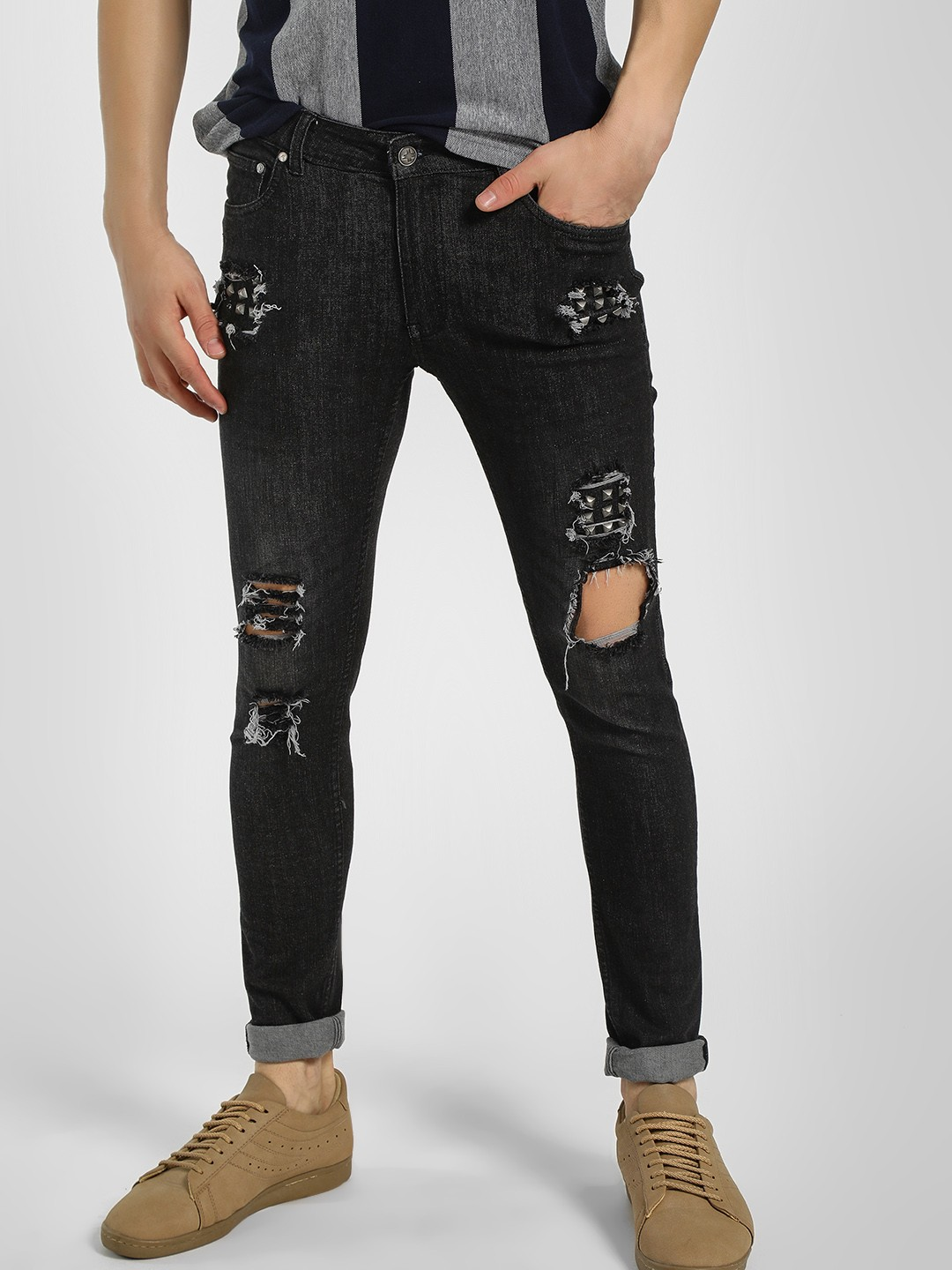 Kultprit Black Studded Distressed Slim Fit Jeans 1