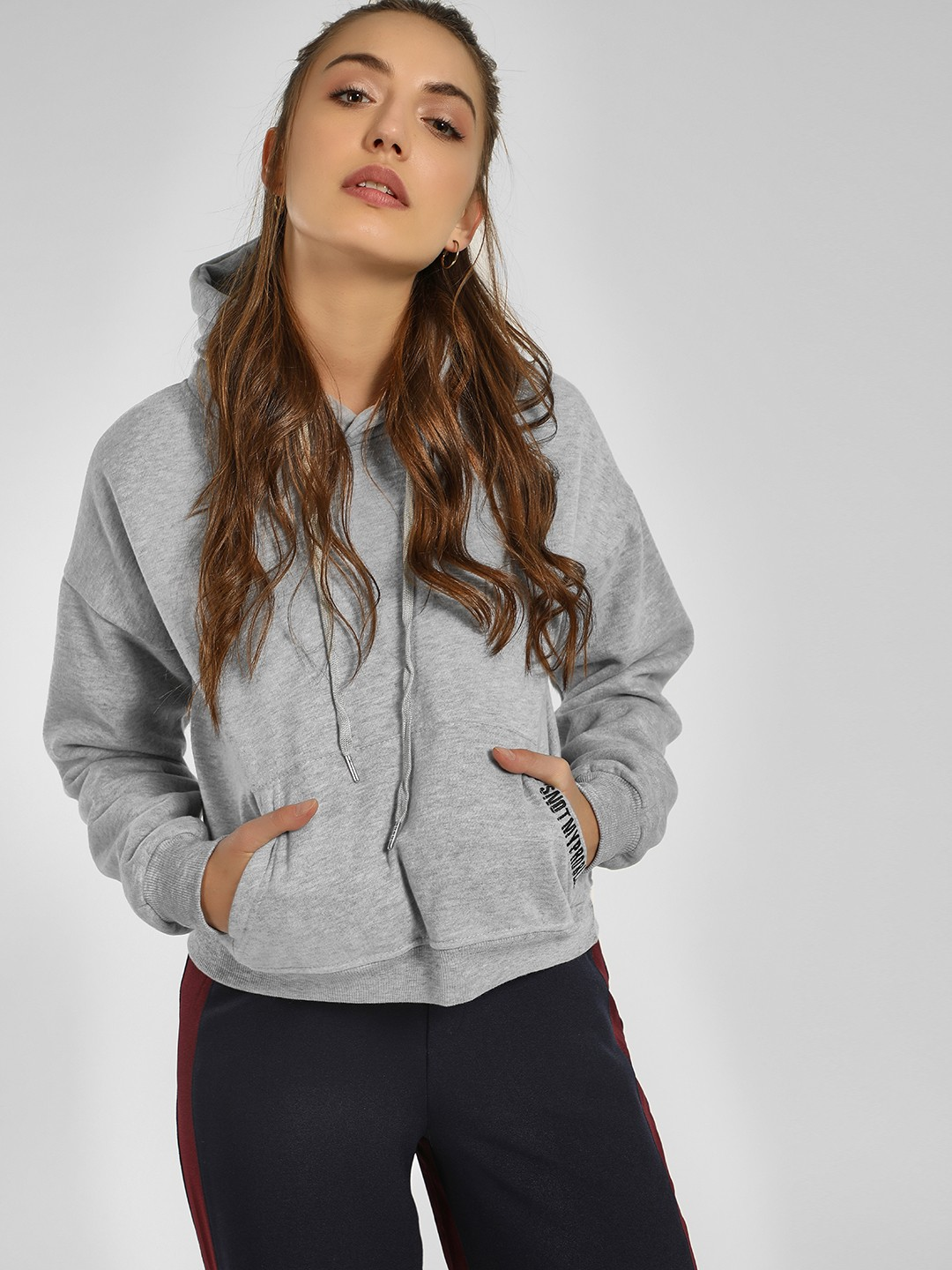 Origami Lily Grey Slogan Detail Hooded Sweatshirt 1